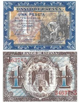 410  -  BILLETES ESPAÑOLES. BANCO DE ESPAÑA. 1 Peseta. 6-1940. Sin serie. ED-42. S.C.