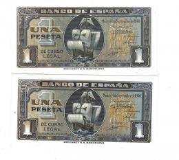 411  -  BILLETES ESPAÑOLES. BANCO DE ESPAÑA. Lote de 2 billetes de 1 Peseta. 9-1940. Sin serie y serie D. ED- D43 y 43a. SC