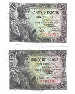 412  -  BILLETES ESPAÑOLES. BANCO DE ESPAÑA. Lote de dos billetes de 1 Peseta. 5-1943. Sin serie y serie I. ED- D48 y 48a. SC