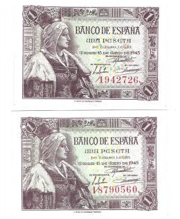 413  -  BILLETES ESPAÑOLES. BANCO DE ESPAÑA. Lote de 2 billetes de 1 Peseta. 6-1945. Sin serie y serie I. ED- D49 y 49a. SC