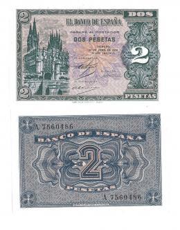 414  -  BILLETES ESPAÑOLES. BANCO DE ESPAÑA. 2 Pesetas. 4-1938. Serie A. ED-D30. S.C.