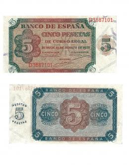 415  -  BILLETES ESPAÑOLES. BANCO DE ESPAÑA. 5 Pesetas. 9-1938. Serie D. ED-D36a. S.C.