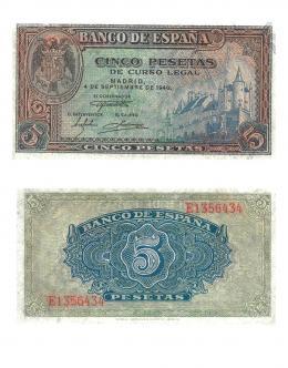 416  -  BILLETES ESPAÑOLES. BANCO DE ESPAÑA. 5 Pesetas. 9-1940. Serie E. ED-D44a. S.C.