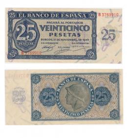 418  -  BILLETES ESPAÑOLES. BANCO DE ESPAÑA. 25 Pesetas. 11-1936. Serie S. ED-D20a. S.C.