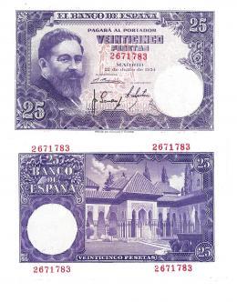 420  -  BILLETES ESPAÑOLES. BANCO DE ESPAÑA. 25 Pesetas. 7-1954. Sin serie. ED- D68. SC.