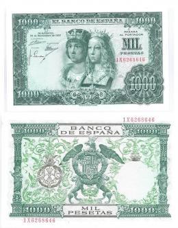 421  -  BILLETES ESPAÑOLES. BANCO DE ESPAÑA. 1000 Pesetas. 11-1957. Serie 1X. ED- D70a. SC.