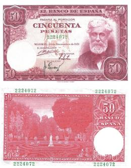 422  -  BILLETES ESPAÑOLES. BANCO DE ESPAÑA. 50 Pesetas. 12-1951. Sin serie. ED- D63. SC.
