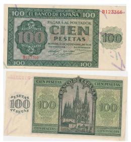 423  -  BILLETES ESPAÑOLES. BANCO DE ESPAÑA. 100 Pesetas. 11-1936. Serie B. ED- D22a. SC.