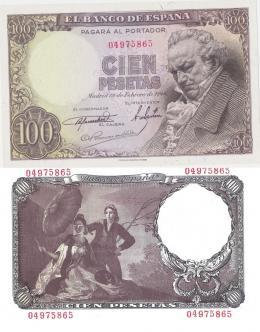 424  -  BILLETES ESPAÑOLES. BANCO DE ESPAÑA. 100 Pesetas. 2-1946. Sin serie. ED- D52.  Mínima arrgua. SC.