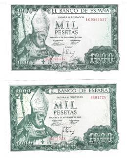 428  -  BILLETES ESPAÑOLES. BANCO DE ESPAÑA. Lote de dos billetes de 1000 Pesetas.11-1965. Sin serie y Serie 1G. ED- D72 y 72a. SC