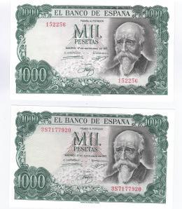 429  -  BILLETES ESPAÑOLES. BANCO DE ESPAÑA. Lote de dos billetes de 1000 Pesetas. 9-1971. Sin serie y serie 3S. ED- A75 y T5b. SC