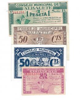 431  -  BILLETES LOCALES. Lote de 4 billetes. 25 céntimos, 50 céntimos y 1 peseta. Consejo Municipal de Albacete. 11-1937. Sello nulo para coleccionistas en la peseta. 50 céntimos del Consejo Municipal de Almansa. Sin firma. MG39 A, B y C y MG133 B. De EBC+ a SC+.