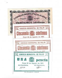 432  -  BILLETES LOCALES. Lote de 4 billetes. 25 céntimos sin fecha ni firmasConsejo Municipal de Albox. MG-63 A. EBC+. Consejos Municipal de Pulpí. 8-1937. 50 céntimos (2), SC y EBC; y 1 peseta sin circular. MG-1206 B (2) y C.