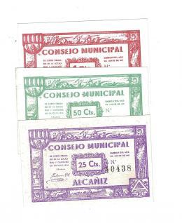 433  -  BILLETES LOCALES. Lote de 3 billetes. 25 céntavos, 50 céntavos y 1 peseta. Consejo Municipal de Alcañiz. 6-1937. MG-75 DEF. EBC+ a SC.