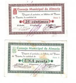 434  -  BILLETES LOCALES. Lote de 2 billetes. 25 céntimos y 1 peseta. Consejo Municipal de Almería. Sin firma.  MG139 A y C. SC y SC con mucho óxido.