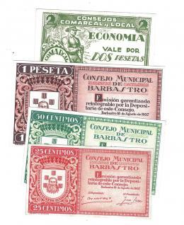 435  -  BILLETES LOCALES. Lote de 4 billetes. 25 céntimos y 1 peseta. Consejo Municipal de Barbastro. 8-1937.  Consejo comarcal y rural de Barbastro. 2 pesetas sin firma. MG-232 A,B,C y E. EBC+ a SC.
