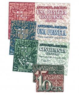 436  -  BILLETES LOCALES. Lote de 5 billetes. 10 céntimos, 15 céntimos, 50 céntimos, 1 pesetas y 1,50 pesetas. Barcelona. 1937. MG-236 A, B, C, D y E. EBC+ a SC.