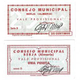 437  -  BILLETES LOCALES. Lote de 2 billetes. 25 céntimos y 1 peseta. Consejo Municipal de Berja. Sin firma. MG-326 A y C. EE. MBC+ a SC.