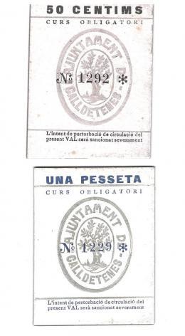 438  -  BILLETES LOCALES. Lote de 2 billetes.  50 céntimos y 1 peseta. Caldetenes. Sin firma. MG-404 A y B. EE.