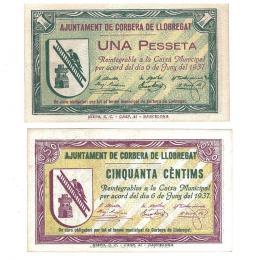 439  -  BILLETES LOCALES. Lote de 2 billetes. 50 céntimos y 1 peseta. Corbera de Llobregat.  6- 1937. mg- 547 A y B. E. EBC+.