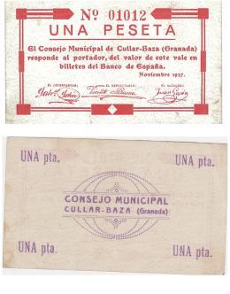 441  -  BILLETES LOCALES. 1 peseta del Consejo Municipal de Cúllar-Baza. 11-1937. MG-570 D. MBC+.