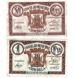442  -  BILLETES LOCALES. Lote de 2 billetes. 50 céntimos y 1 peseta. Consejo Municipal de Chinchilla. Sin firma. MG-578 B y C. Con manchas de pegamento en las esquinas. MBC+.
