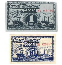 443  -  BILLETES LOCALES. Lote de 2 billetes. 50 céntimos y 1 peseta. Consejo Municipal de L´Escala. MG-605 A y B. EBC+.