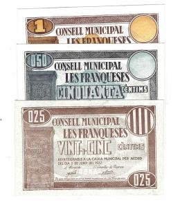 444  -  BILLETES LOCALES. Lote de 3 billetes. 25 céntimos, 50 céntimos y 1 peseta. Consejo Municipal de Les Franqueses. 6-1937.  MG-673 A, B y C. EBC- a EBC+.