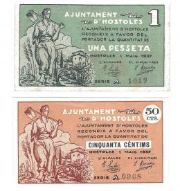 445  -  BILLETES LOCALES. Lote de 2 billetes. 50 céntimos y 1 peseta. Hostoles. MG-770 A y B. EBC+ a MBC.