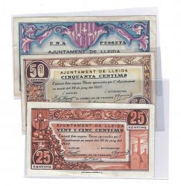 446  -  BILLETES LOCALES. Lote de 3 billetes. 25 céntimos, 50 céntimos y 1 peseta. Lleida. 6-1937.  MG-849 A, B y C. MBC+ a EBC+.