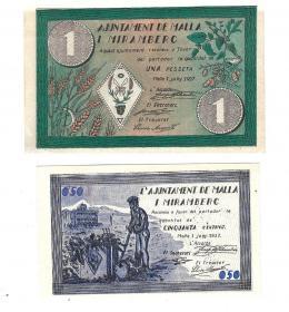 447  -  BILLETES LOCALES. Lote de 2 billetes. 50 céntimos y 1 peseta. Malla I Miramberc. 6-1937. MG-874 A y B. EBC+ a SC.