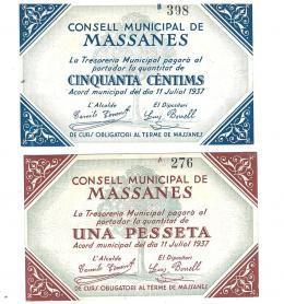 448  -  BILLETES LOCALES. Lote de 2 billetes. 50 céntimos y 1 peseta. Consejo Municipal de Massanes. 7-1937. MG-900 A y B. R. SC.
