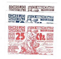 449  -  BILLETES LOCALES. Lote de 3 billetes. 25 céntimos, 50 céntimos y 1 peseta. Consejo Municipal los Navalmorales. Sin firma. MG-944 A, B y C. SC