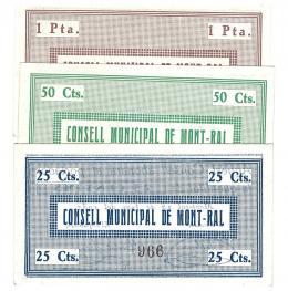 450  -  BILLETES LOCALES. Lote de 3 billetes. 25 céntimos, 50 céntimos y 1 peseta. Consejo Municipal Montral. 6-1937. MG-963. EBC+ a SC.