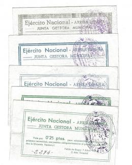 451  -  BILLETES LOCALES. Lote de 5 billetes. 25 céntimos, 1 peseta, 2 pesetas, 5 pesetas y 10 pesetas. Pobla de Segur. 4-1938. MG-1143 F, H, I, J, K. EBC a SC.