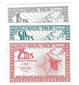 452  -  BILLETES LOCALES. Lote de 3 billetes. 25 céntimos, 50 céntimos y 1 peseta. Consejo Municipal Polan. Sin firma. MG-1147 A, B y C. SC