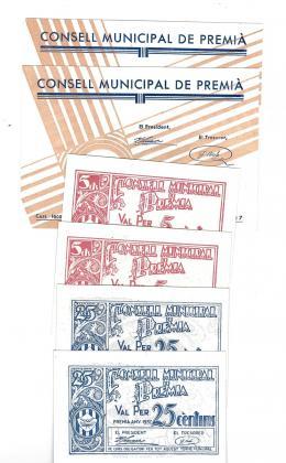 453  -  BILLETES LOCALES. Lote de 6 billetes. 5 céntimos, 25 céntimos y 50 céntimos en parejas correlativas. Consejo Municipal de Premià. 1937. MG-1177 A, C Y D. SC.