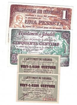 454  -  BILLETES LOCALES. Lote de 4 billetes. 25 céntimos en pares correlativos, 50 céntimos, 1 peseta. Sabadell. MG-1285 A, B y C (2). MBC+ -SC.