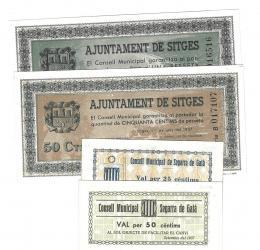 455  -  BILLETES LOCALES. Lote de 4 billetes. 25 céntimos y  50 céntimos. Consejo Municipal de Segarra de Gaia. 9-1937.  MG-1341 A y B SC. 50 céntimos y 1 peseta. Consejo Municipal de Sitges. 6-1937. MG-1372 A y B. SC.