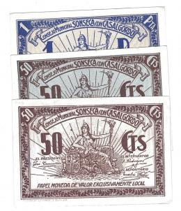 456  -  BILLETES LOCALES. Lote de 3 billetes. 50 céntimos (2) y 1 peseta. Consejo de Sponseca con Casalgordo. Sin firma. MG-1383 B (2) y C. E. EBC+ a SC.