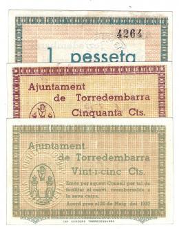 457  -  BILLETES LOCALES. Lote de 3 billetes. 25 céntimos, 50 céntimos y 1 peseta. Torredembarra. MG-453 A, B y C. EBC+ a SC