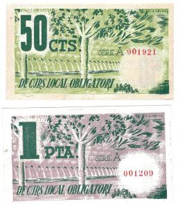 458  -  BILLETES LOCALES. Lote de 2 billetes. 50 céntimos y 1 peseta.Torelles de Foix. MG-1458 C y D. EBC+ a SC