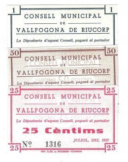 459  -  BILLETES LOCALES. Lote de 3 billetes. 25 céntimos, 50 céntimos y 1 peseta. Vallfogona de Ruicorp. 7-1937.  MG-1530 A, B y C. SC