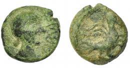 46  -  HISPANIA ANTIGUA. OBULCO. Semis. A/ Cabeza femenina a der., delante externa OBVLC(O). R/ Águila con alas abiertas a der. AE 3,99 g. 16,93 mm. I-1843. ACIP-2247. Pátina verde. BC/BC-. Muy rara.