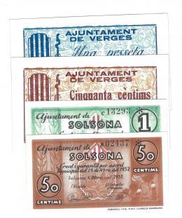 460  -  BILLETES LOCALES. Lote de 4 billetes. 50 céntimos y 1 peseta. Veges y Solsona. Sin firma. 1937. MG-1548 C y D. MG- 1379 F y G. EBC+ a SC