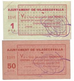 461  -  BILLETES LOCALES. Lote dos billetes Viladecavalls. 5-1937. 50 céntimos y 1 peseta. Sin firma. M-G 1557 A y B. EBC+. SC.
