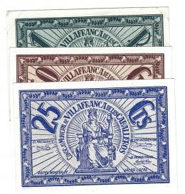 462  -  BILLETES LOCALES. Lote tres billetes Consejo Municipal Villafranca de los Caballeros. 25 céntimos, 50 céntimos y 1 peseta. Sin firma. M-G 1597 A, B y C. Mue escasa. SC.