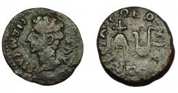 52  -  HISPANIA ANTIGUA. COLONIA PATRICIA. Augusto. Semis. A/ Cabeza a izq.; PERM CAES AVG. R/ Ápex y símpulo; COLONIA PATRICIA. AE 6,15 g. 23 mm. I-1992. APRH-130a. ACIP-3358. BC+.