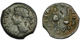 55  -  HISPANIA ANTIGUA. COLONIA PATRICIA. Augusto. Semis. A/ Cabeza a izq.; PERM CAES AVG. R/ Apex y simpulum; COLONIA PATRICIA. AE 5,61 g. 22,0 mm. I-1992. APRH-130a. ACIP-3358. Pátina oscura. BC+/MBC-.