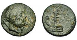 59  -  HISPANIA ANTIGUA. SAGUNTUM. As. Finales s. I a.C. A/ Cabeza de Neptuno a izq., detrás tridente. R/ Proa a izq., encima Victoria con corona y palma; (MA-POL), ley. griega no visible. AE 12,28g. 26,39 mm. I-1207. APRH-485. ACIP-2027. Pátina oscura. BC+. Muy rara.